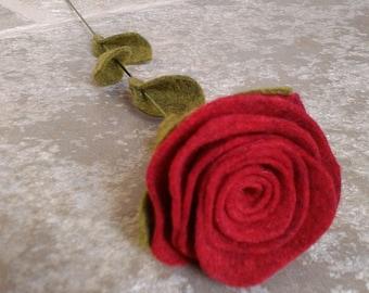 Red rose, red felt rose, long-stemmed rose, single rose, single red rose, single flower, single felt flower, romantic gift, flower gift