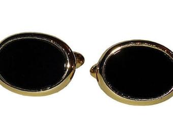 Christian Dior Gold & Onyx Cuff Links