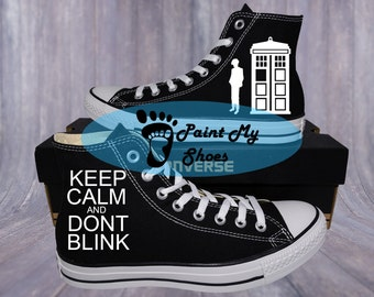 Doctor Who, Converse, Tardis, Dont Blink, Hand painted shoes, free shipping in the US