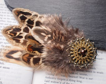 Gold Mandala Pheasant Feather Hair Clip. Steampunk Hair Accessory with Gold Cogs and Faux Pearl. Alternative Wedding or Festival Fashion.