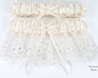 Bridal Wedding 2-Piece Set Garter of Embroidery with Crystal Rhinestone Accents (EB #E14H)
