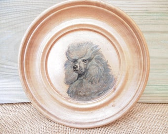 Hand painted wooden plaque of poodle dog by Alma Dixon