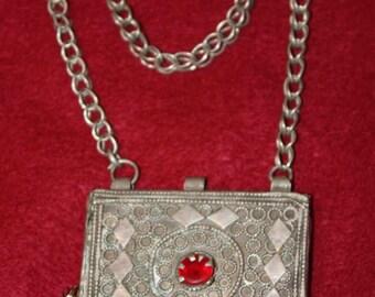 Antique Bedouin Prayer box Necklace, Arabia, Mixed Metal, Alpaca, German Silver