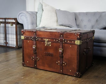 Finest Belted English Handmade Leather Chest Trunk Coffee Table