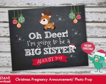 Oh Deer Im going to be a Big Sister - Christmas Pregnancy Announcement Christmas Pregnancy Photo Prop AUGUST 2017 DIY