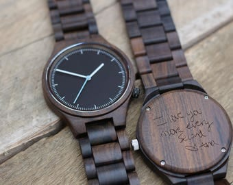 Wood Watch, Wooden Watch, Engraved Mens Watch, Mens Watch, Personalized Watch, Mens Watches, Wood Watches for Men, Boyfriend Gift, WH001-BK