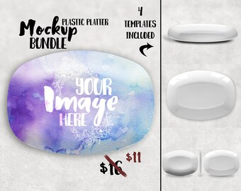 Plastic platter mockup template| personalized platter mockup | Add your own background and image