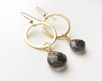 15% off! Rutile quartz 24 k vermeil earrings, 925 sterling silver gold plated earrings, Bridal earrings, Bridal jewelry