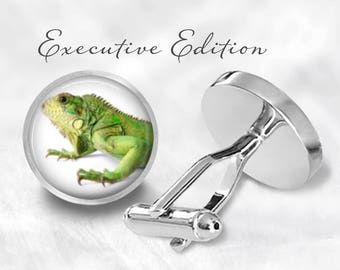 Iguana Cufflinks - Lizard Cufflinks - Reptile Cuff Links - Animal Cufflinks for Him (Pair) Lifetime Guarantee (S0713)