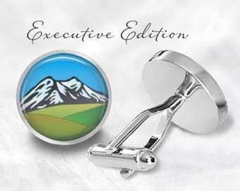 Snowy Mountain Cufflinks - Mountains Cuff Links - Wilderness Cufflinks - Outdoorsmen Cufflink (Pair) Lifetime Guarantee (S0769)