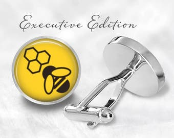 Bee Cufflinks - Bee Keeper Cuff Links - Honeybee Cufflinks - Honeycomb Cufflink Set (Pair) Lifetime Guarantee (S0825)