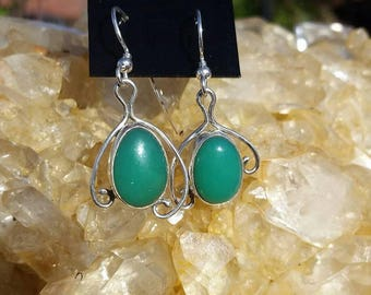 Chrysoprase earrings, silver earrings