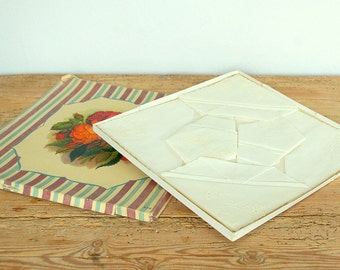Vintage ladies handkerchiefs in original box roses.New old stock.Unused new white embroidered.Boxed hankies.Collectible.Women accessory