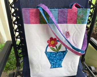 Appliquéd, Embroidered & Quilted Tote