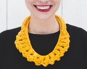 The Egg Recycled Cotton Necklace in Yellow, Textile Crochet Knotted Neckpiece Soft Jewelry  NODO