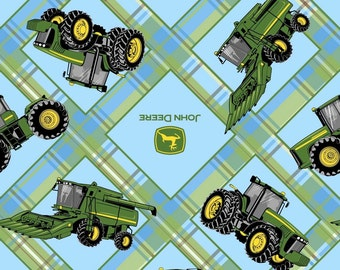 John Deere Plaid On Patch by Springs Creative, Fabric End of Bolt 35""