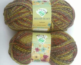 Yarn Bee Melody Bulky Harlequin Wool Acrylic Blend 4 oz 129 Yards, 2 Skeins