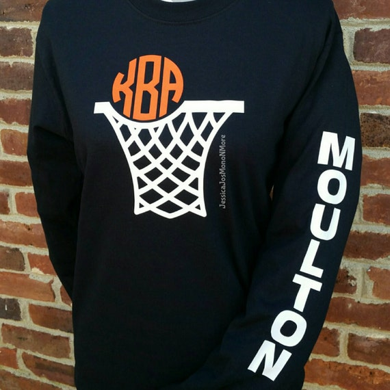 Long sleeve monogram basketball shirt for Selling shirts on etsy
