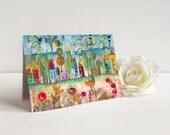 Greeting card Enchanted village II  mixed media card Marika Lemay mixed media artist flowers houses trees nature