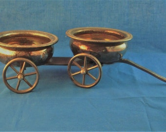 Antique silver plate Rogers Silver Co. wine trolley for holding two wine bottles, great conversation piece at the table or holiday gift
