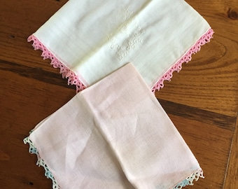 Set of 2 Vintage Pink & White Handkerchiefs with Flower and Butterfly--SHIPS FREE!!