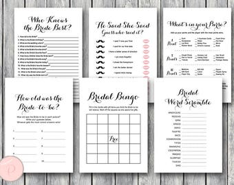 Black and White Bridal Shower Games Package, Instant Download, 6 Games Printable, Game Download, Bridal Shower Activities TG00 TH00