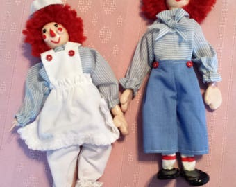 Unique Raggedy Ann and Andy, moulded clay figures, hand made & painted, decorative dolls, 9.5 inches