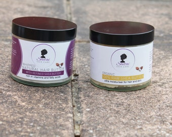 Hair Gift Pack of 2 - Natural Hair Butter and Organic Shea Butter from Shetai