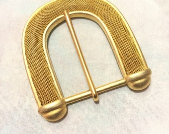 Women's Large Gold Mesh Metal Belt Buckle, 1960 Collection Belt Buckle 9187
