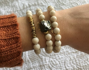 Natural riverstone stacking bracelet, beaded bracelet, Meli