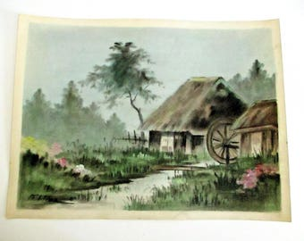 Vintage Japanese Watercolor Hut House Cottage Primitive Water Mill Country Spring Landscape Painting Signed Kitano