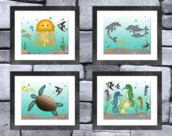 Sea Creature Animal Print Set of 4