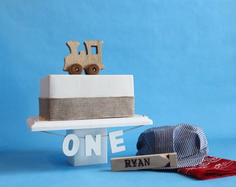 Old-fashioned Wood Toy Engine Train Cake Topper, Smash The Cake, Bandanna, Hat, Personalized Whistle, Photo Prop, Over The Top Cake Topper