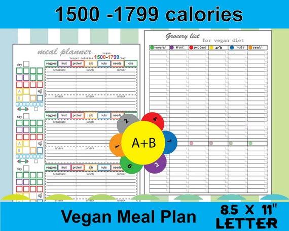 Daily Meal Planner Vegan 1500 calorie by TatDigitalCreativity