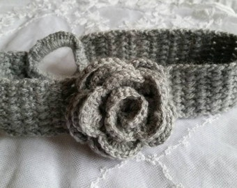 Grey Crochet Baby Headband