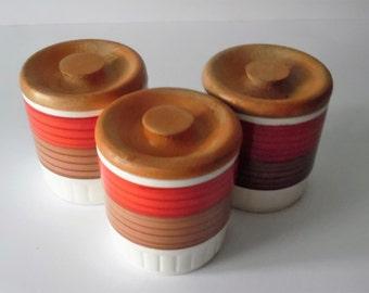 """Vintage Palissy """"Tangier"""" Set of 3 Storage Jars. Storage jars. Spice Jars. Herb pots. Retro storage jars"""