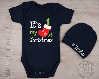 MY FIRST CHRISTMAS Baby Boy Outfit, It's My 1st Christmas Navy Blue Bodysuit & Personalized Baby Hat Set, Baby First Christmas Costume