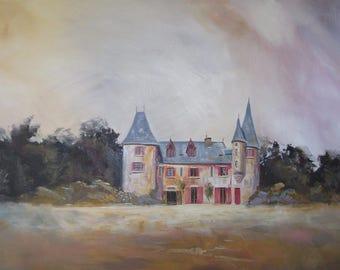 The local Castle, French art, large, original, vibrant, landscape