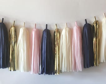 Blush and Navy Tassel Garland