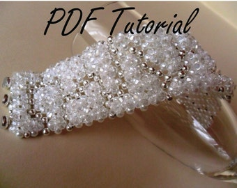 Lulu Bridal bracelet Crystal white pearl bracelet beading pattern Right angle weave instructions Beadweaving Beading tutorial