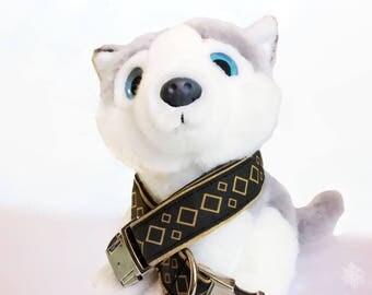 Dog collar geometric black and gold C1703