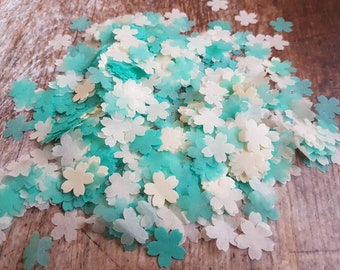 Dark Mint green and Ivory  cherry flower wedding throwing confetti!Party Table  Decoration.Romantic  spring summer.ECO,2-20 handfuls