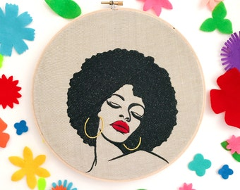 Bright Babe | Gift for Her | Home Decor | Wall Art | Embroidered | Pop Art | Galentine | Office Decor | Cloth and Twig