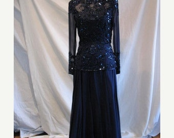 On Sale 1980s or 1990s Glamorous Midnight Blue Beaded Sequined Silk Chiffon Evening Dress Mother of the Bride