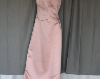 On Sale Vintage Pink Coral Formal Prom Dress Beaded Spaghetti Straps