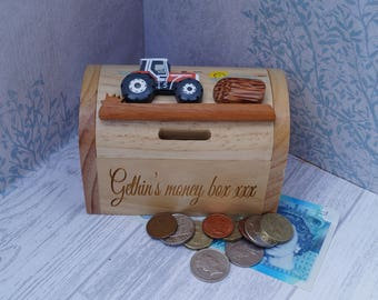 Childrens wooden money box personalised money box tractor money box treasure chest money & Treasure chest bank | Etsy Aboutintivar.Com