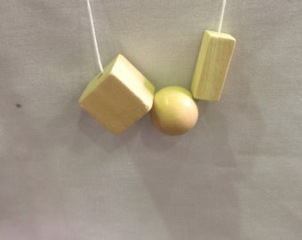 Wooden bead necklace // Square bead necklace // natural organic bead
