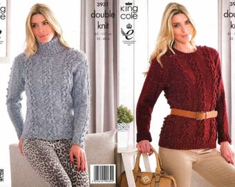 King Cole Knitting Pattern 3931~Cabled Sweaters~DK~32-46""