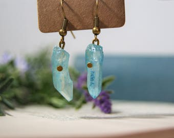 Light Blu Aura, Crystal Earrings, Aqua Aura Earings, Aura Crystals