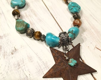 Turquoise and Brown Beaded Necklace with Rustic Star Pendant